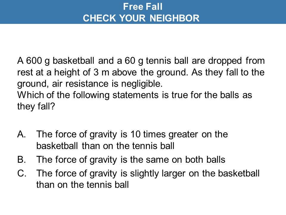 Free Fall CHECK YOUR NEIGHBOR
