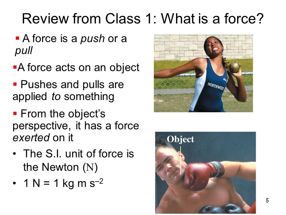 Review from Class 1: What is a force