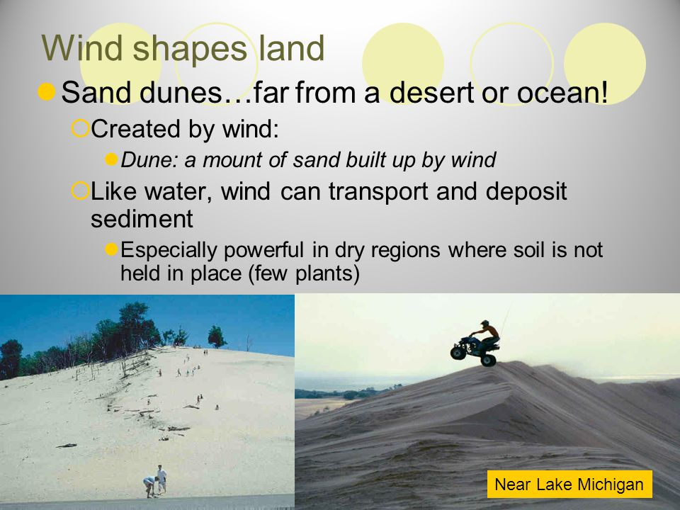 Wind shapes land Sand dunes…far from a desert or ocean!