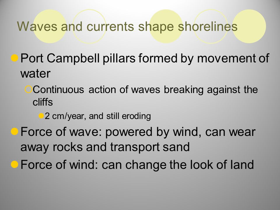 Waves and currents shape shorelines