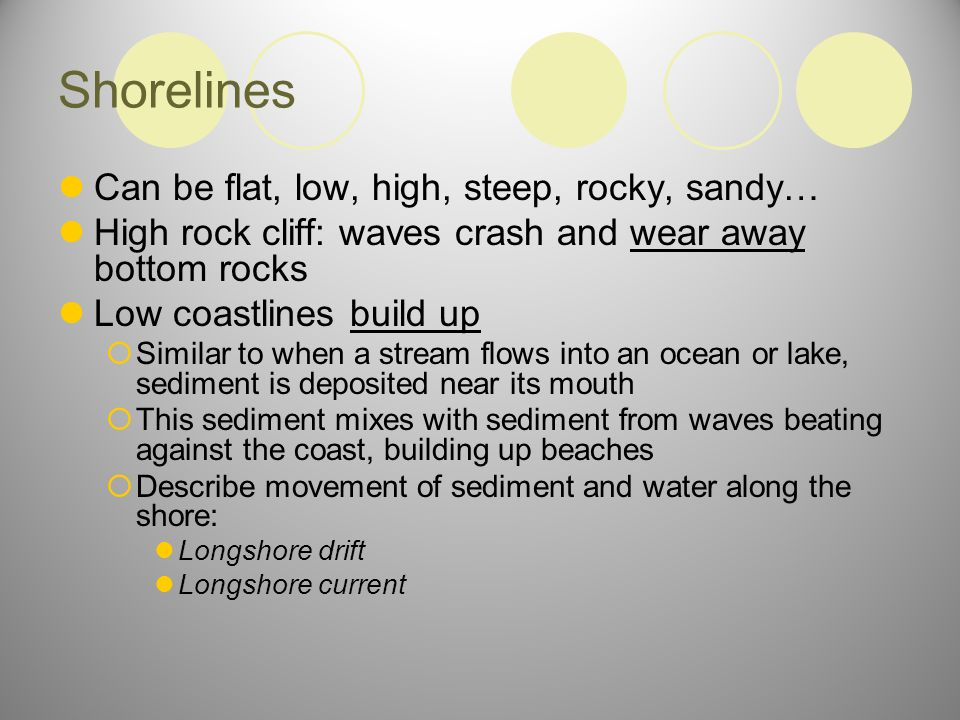 Shorelines Can be flat, low, high, steep, rocky, sandy…