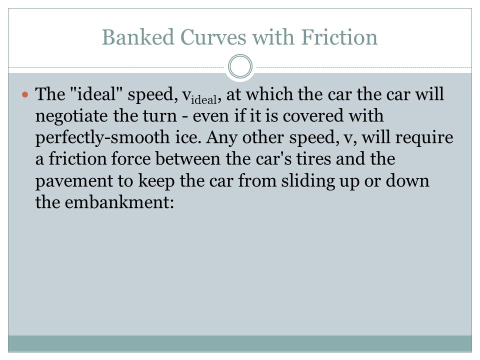 Banked Curves with Friction