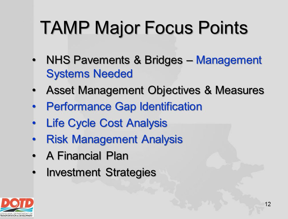 TAMP Major Focus Points