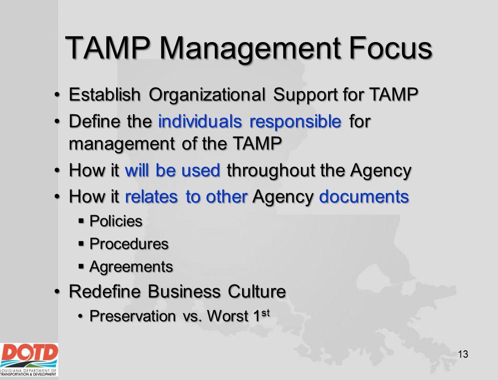 TAMP Management Focus Establish Organizational Support for TAMP