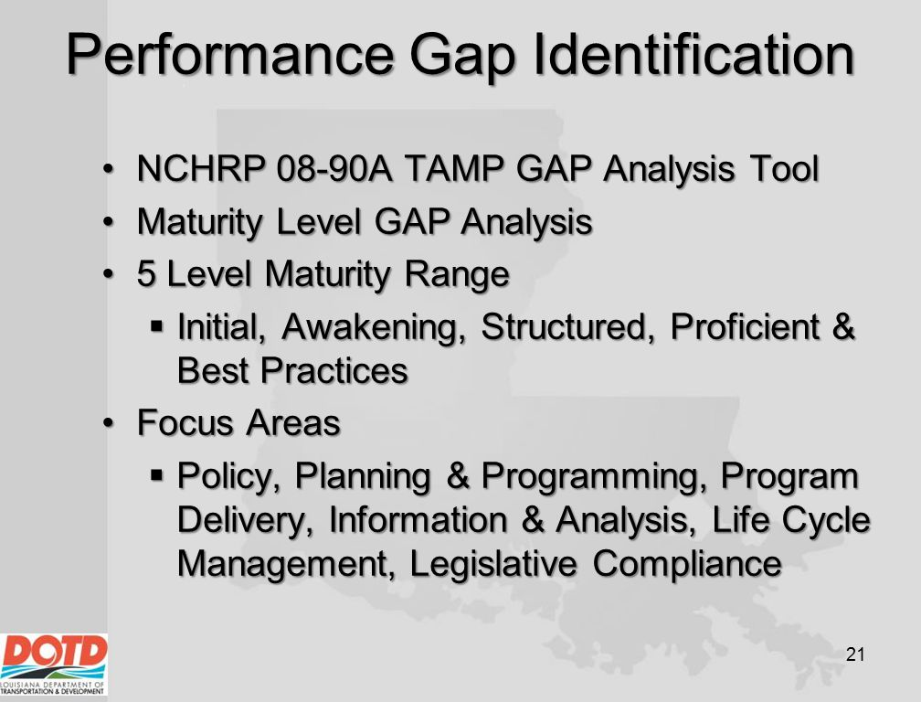 Performance Gap Identification