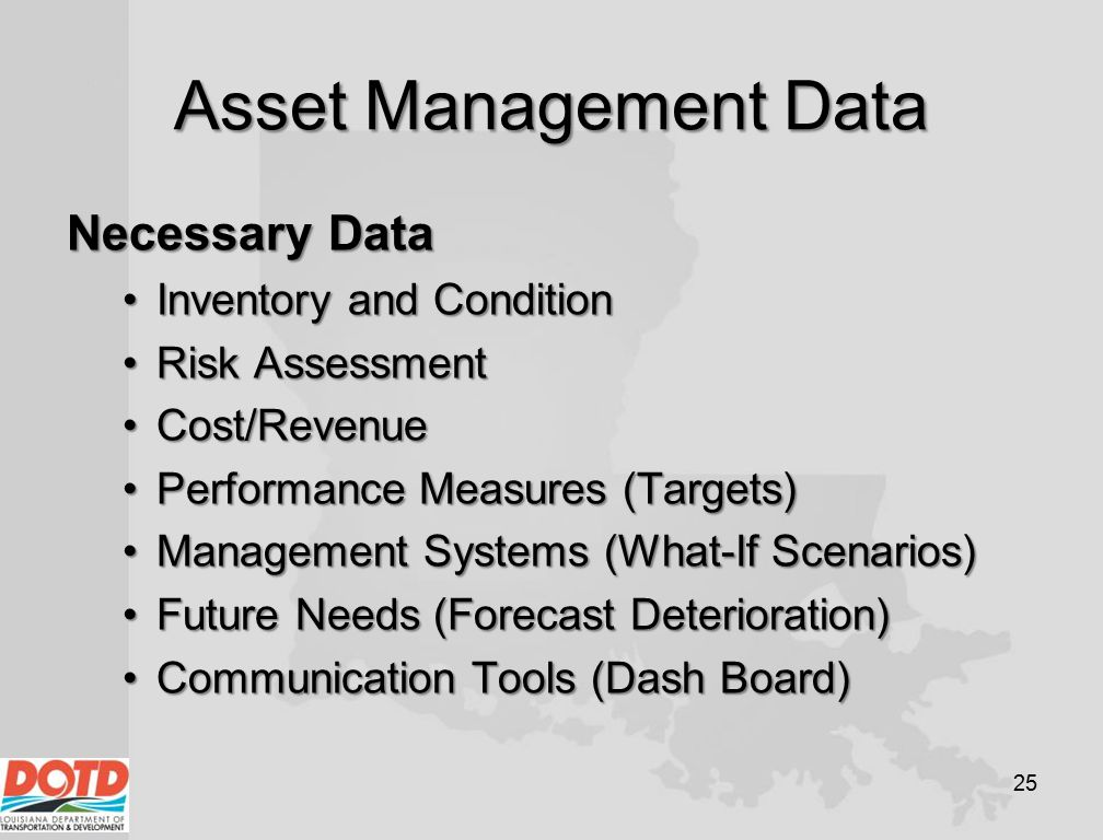 Asset Management Data Necessary Data Inventory and Condition