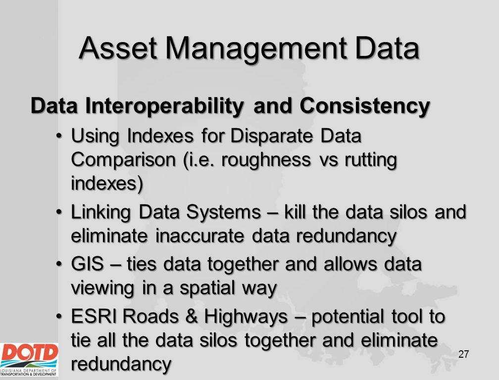 Asset Management Data Data Interoperability and Consistency