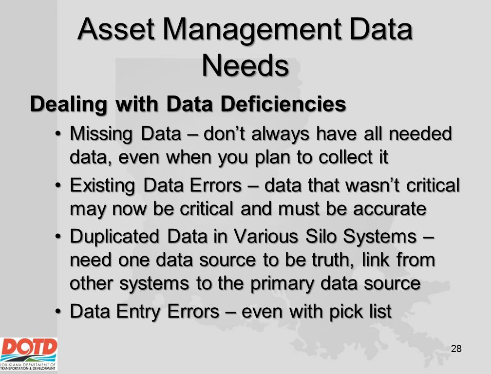 Asset Management Data Needs