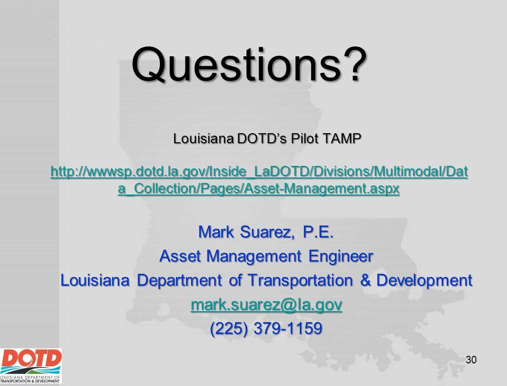 Questions Mark Suarez, P.E. Asset Management Engineer