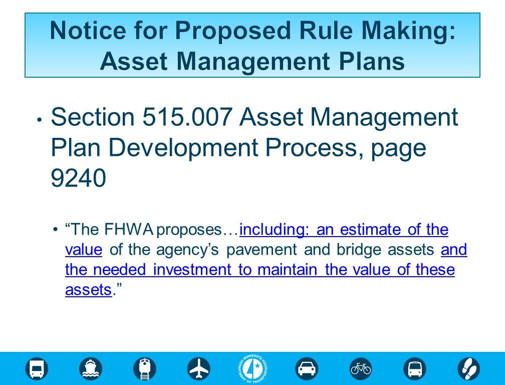 Notice for Proposed Rule Making: Asset Management Plans