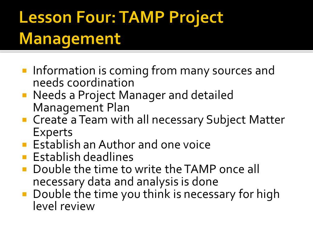 Lesson Four: TAMP Project Management