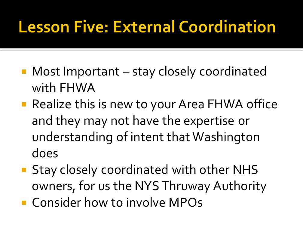 Lesson Five: External Coordination