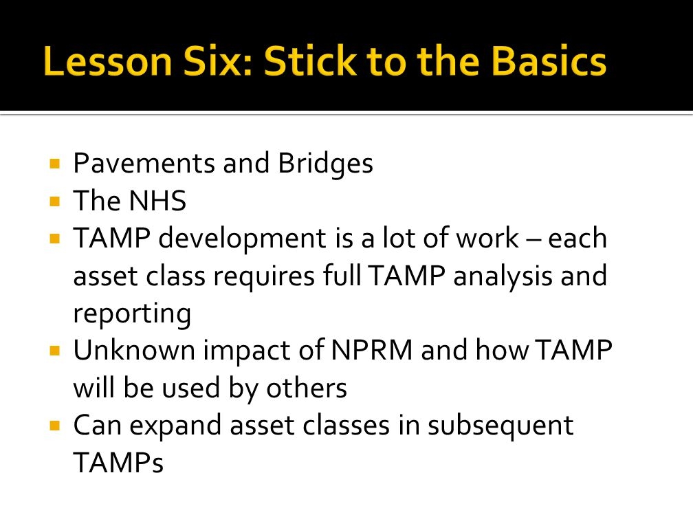 Lesson Six: Stick to the Basics