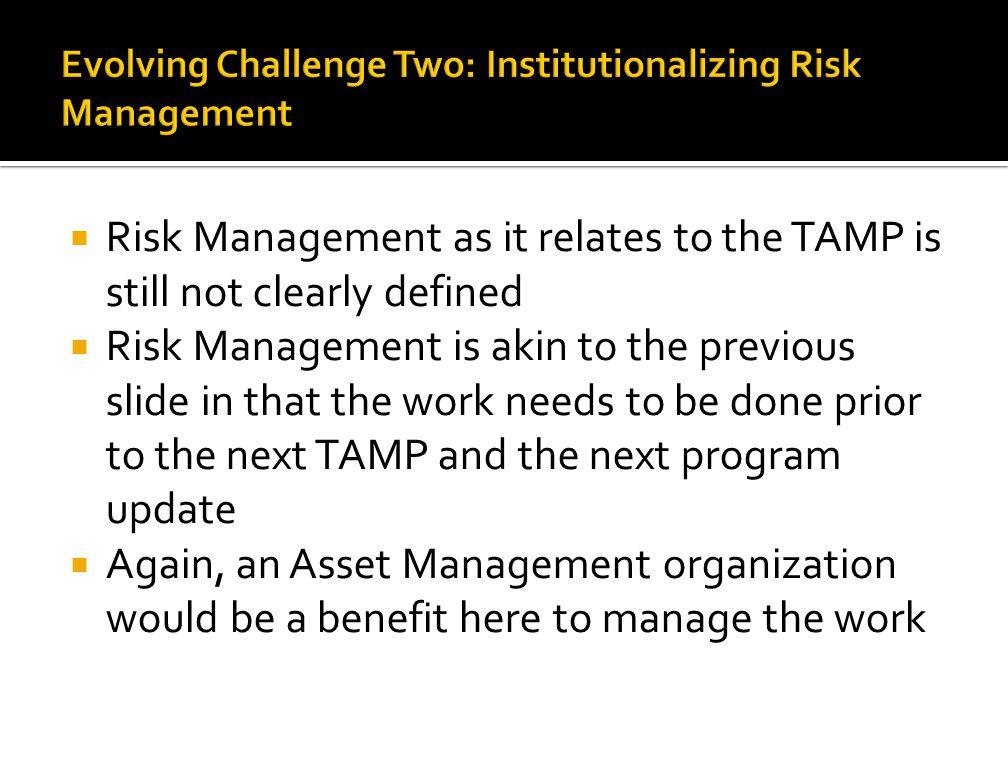 Evolving Challenge Two: Institutionalizing Risk Management