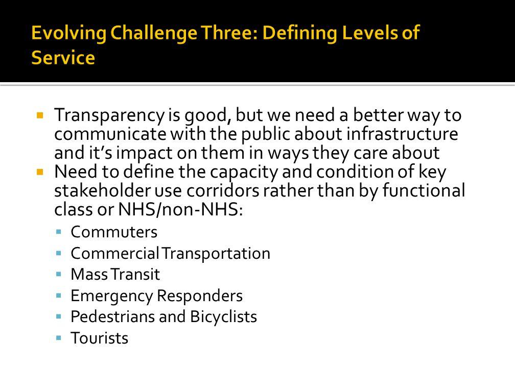 Evolving Challenge Three: Defining Levels of Service