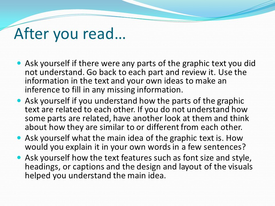 After you read…
