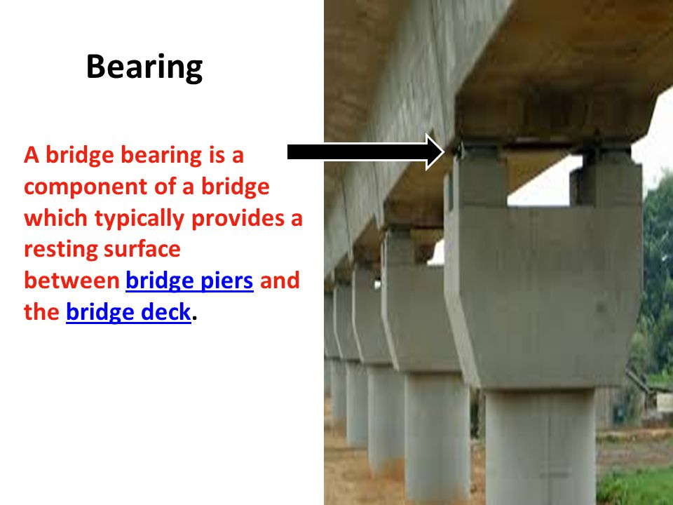 Bearing A bridge bearing is a component of a bridge which typically provides a resting surface between bridge piers and the bridge deck.