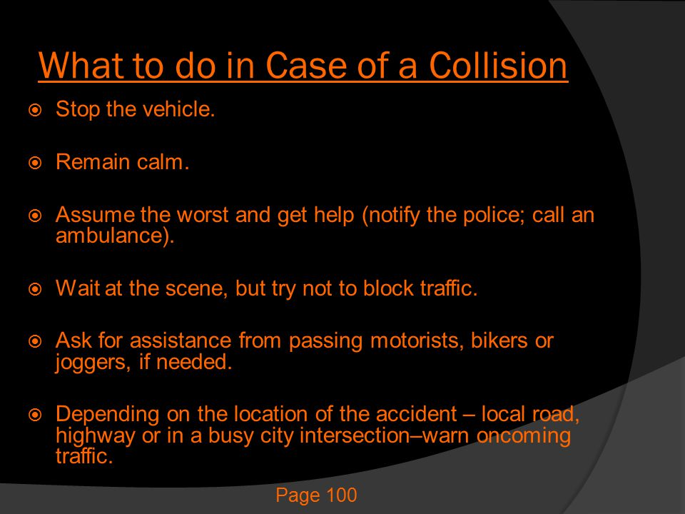 What to do in Case of a Collision