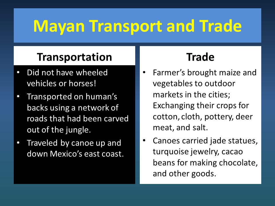 Mayan Transport and Trade