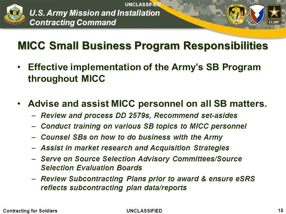 MICC Small Business Program Responsibilities