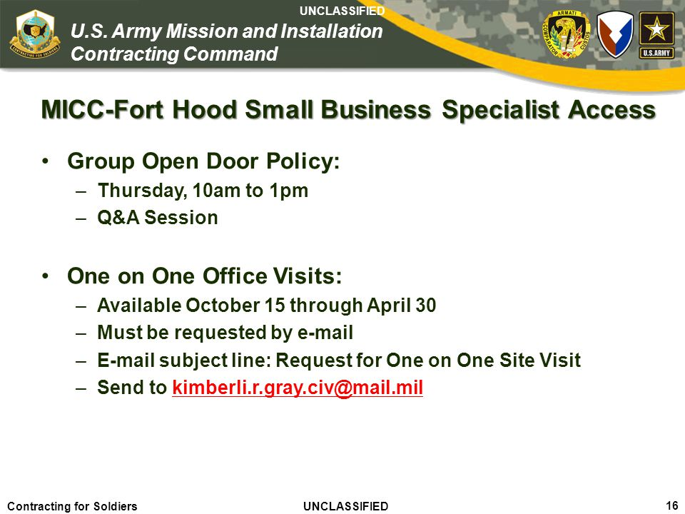 MICC-Fort Hood Small Business Specialist Access