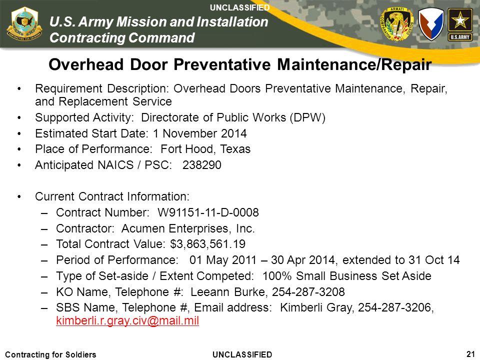 Overhead Door Preventative Maintenance/Repair