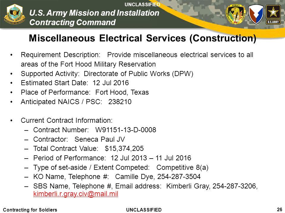 Miscellaneous Electrical Services (Construction)