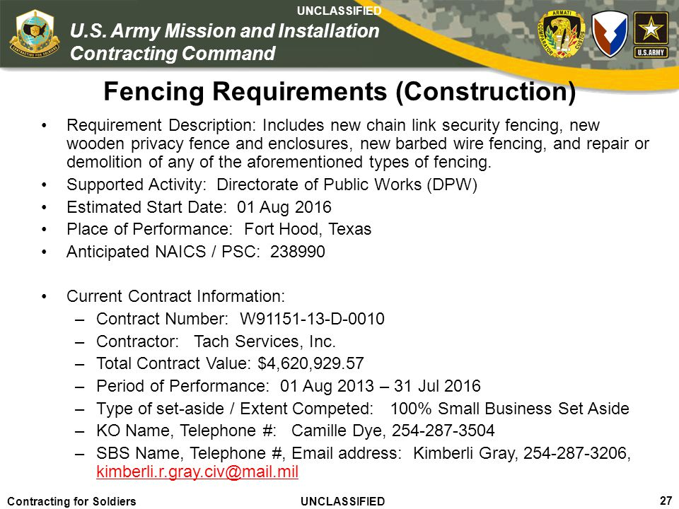 Fencing Requirements (Construction)