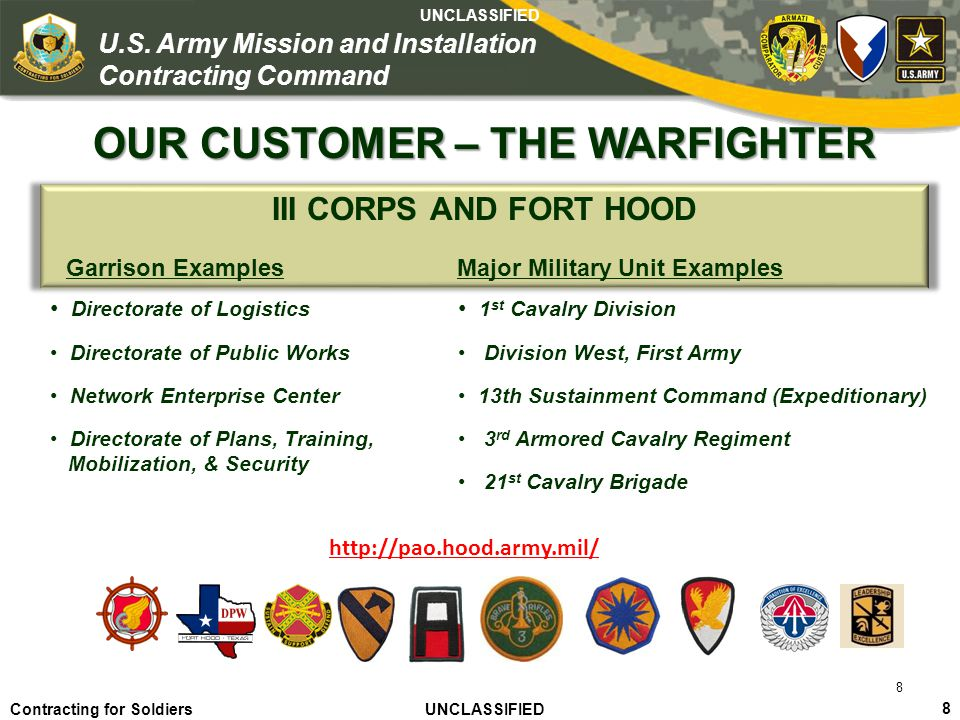 OUR CUSTOMER – THE WARFIGHTER Major Military Unit Examples
