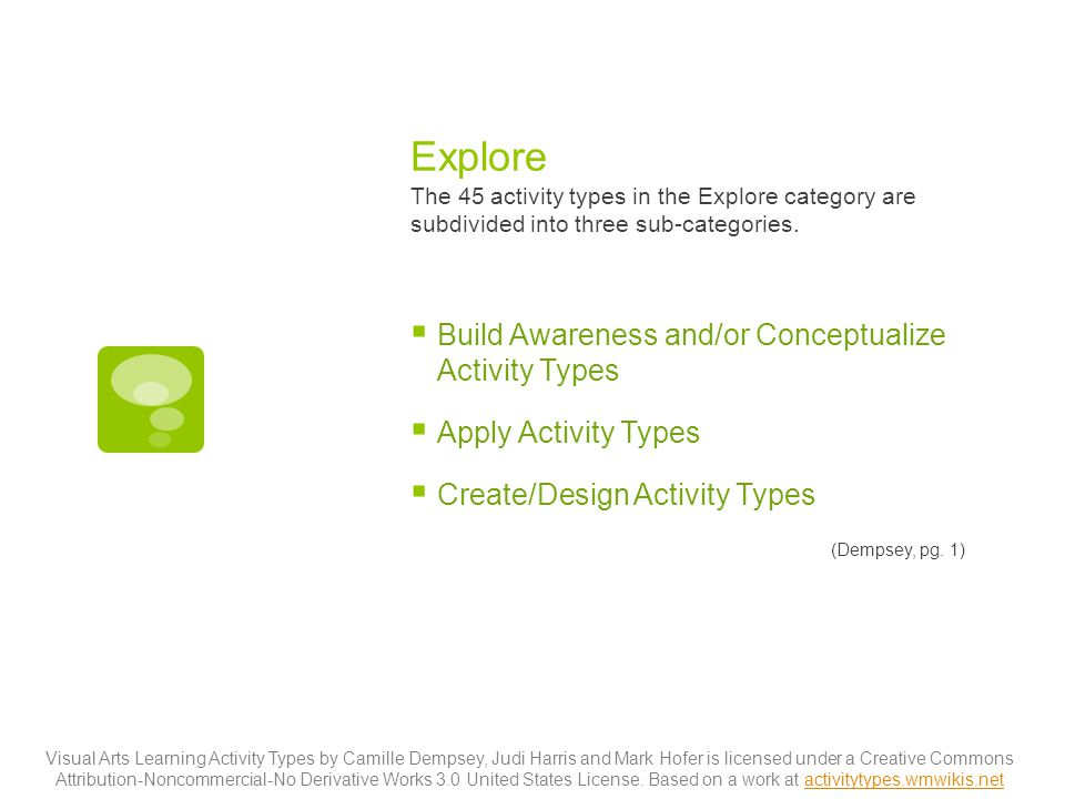 Explore The 45 activity types in the Explore category are subdivided into three sub-categories.