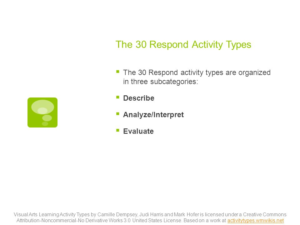 The 30 Respond Activity Types