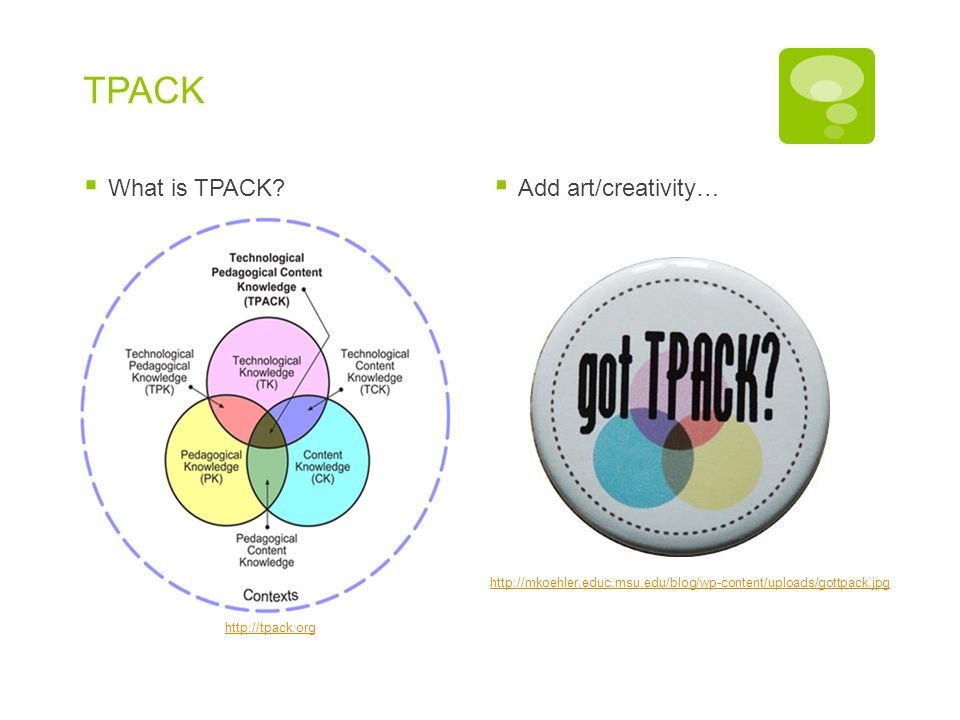 TPACK What is TPACK Add art/creativity… What is TPACK