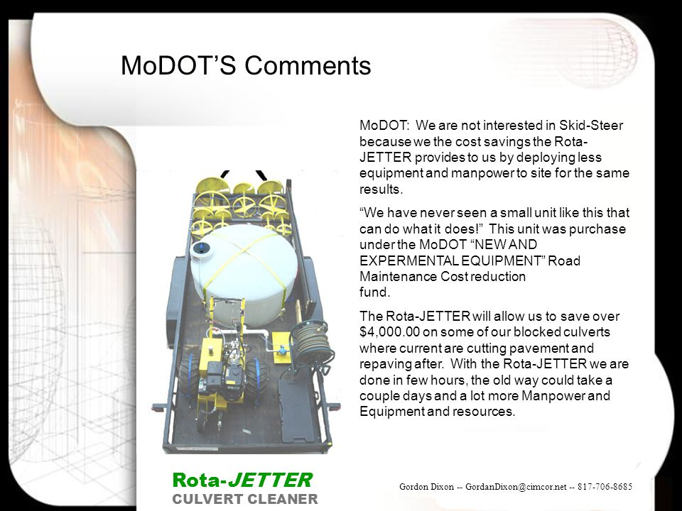 MoDOT'S Comments Rota-JETTER
