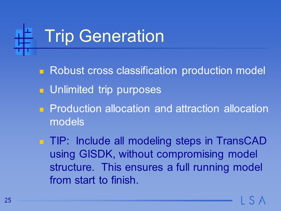 Trip Generation Incorporate land use data Detailed trip purposes
