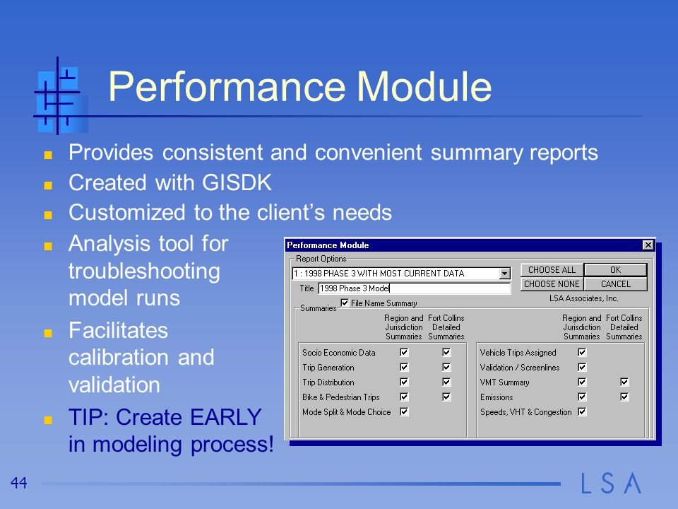 Summary Reports The summaries are customized using GISDK and summarize the model data in many ways, including…