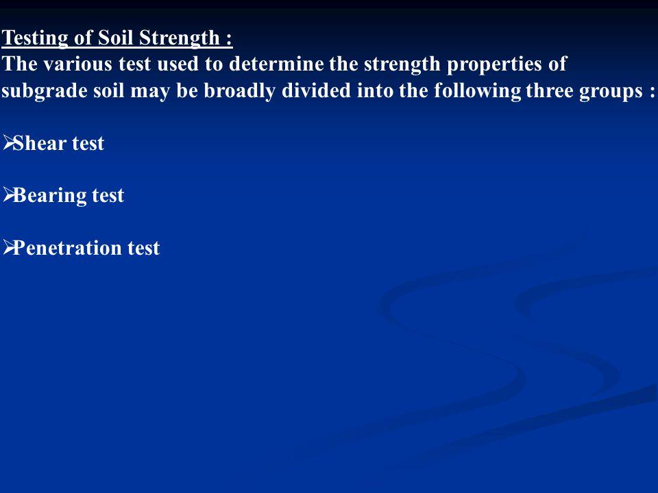 Testing of Soil Strength :