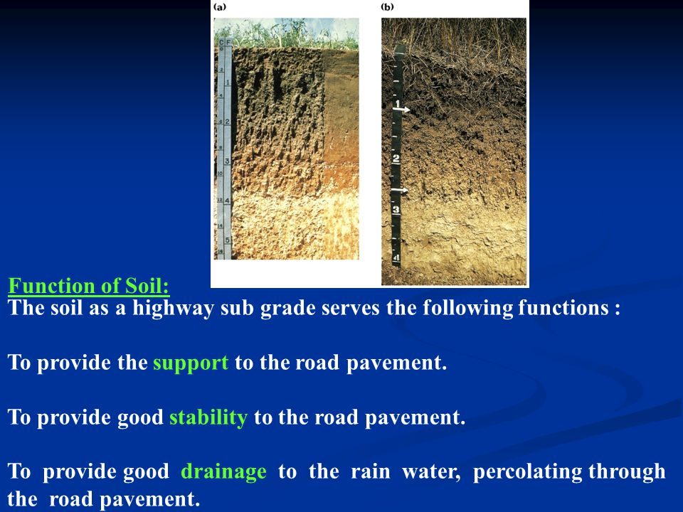 Function of Soil: The soil as a highway sub grade serves the following functions : To provide the support to the road pavement.