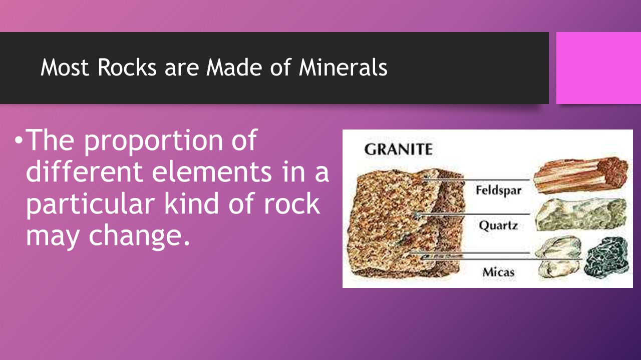 Most Rocks are Made of Minerals