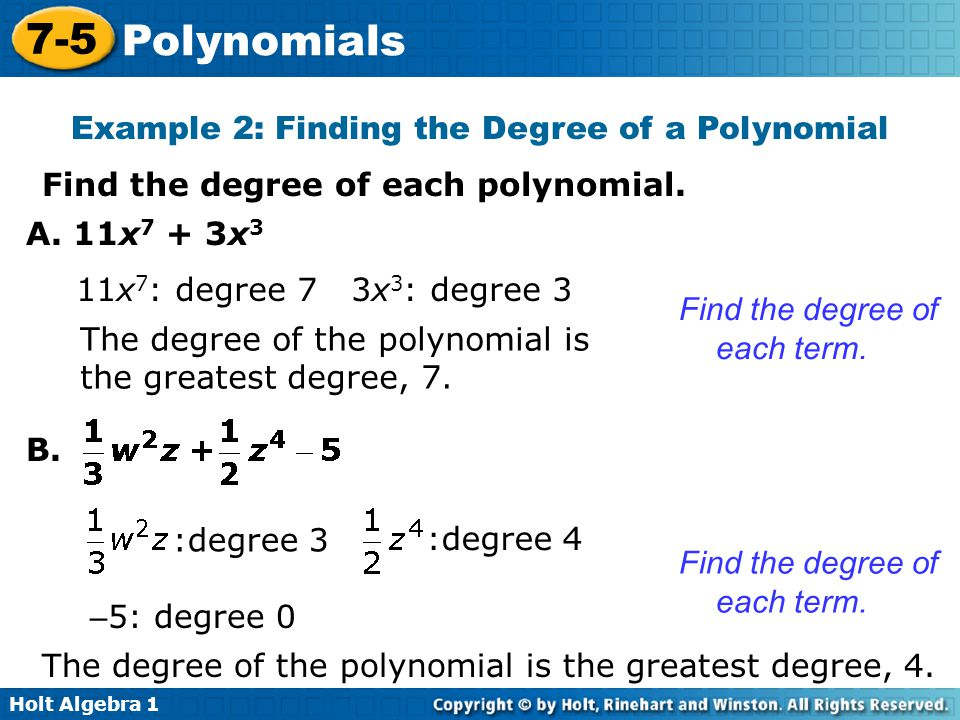 Example 2: Finding the Degree of a Polynomial