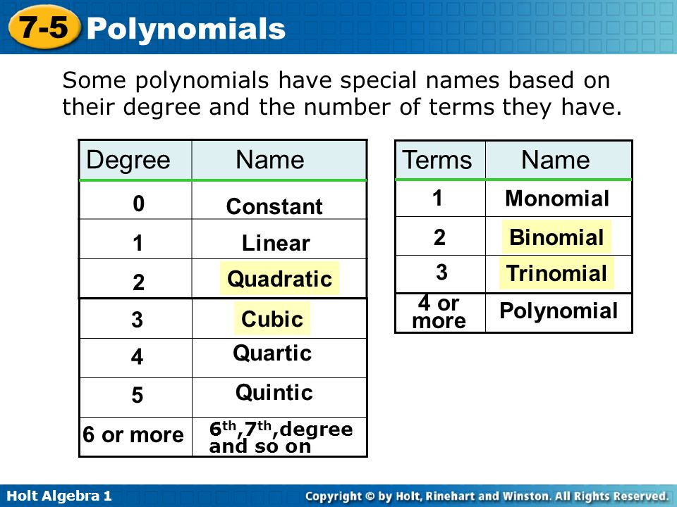 Some polynomials have special names based on their degree and the number of terms they have.
