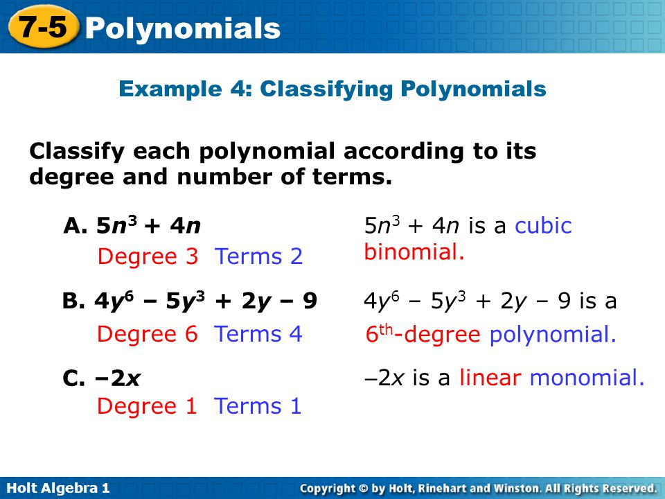 Example 4: Classifying Polynomials