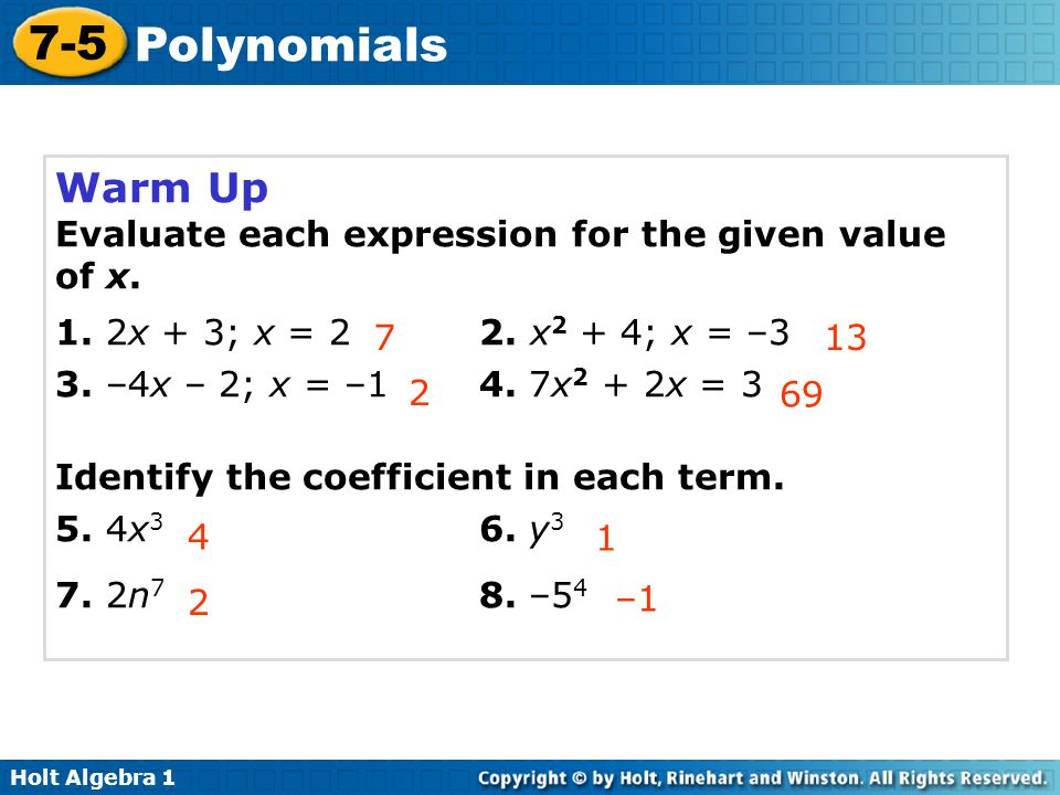 Warm Up Evaluate each expression for the given value of x.