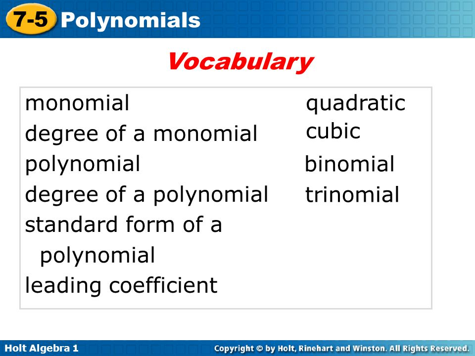 Vocabulary monomial degree of a monomial polynomial
