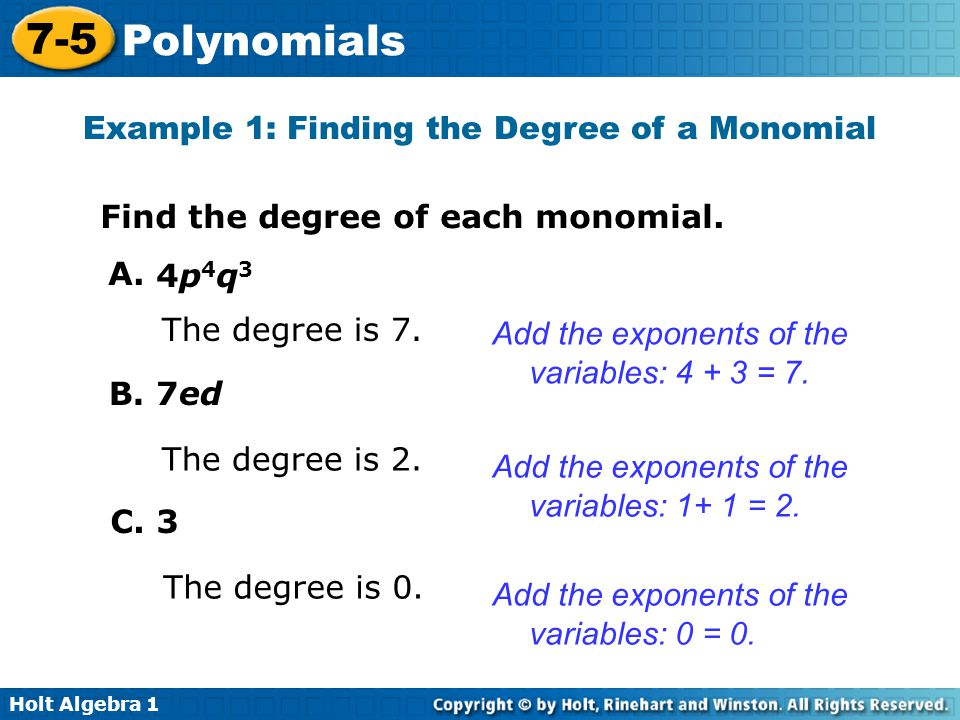 Example 1: Finding the Degree of a Monomial