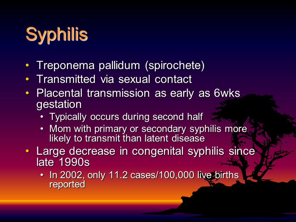 Syphilis Treponema pallidum (spirochete)