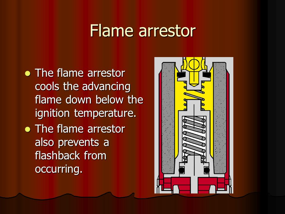 Flame arrestor The flame arrestor cools the advancing flame down below the ignition temperature.