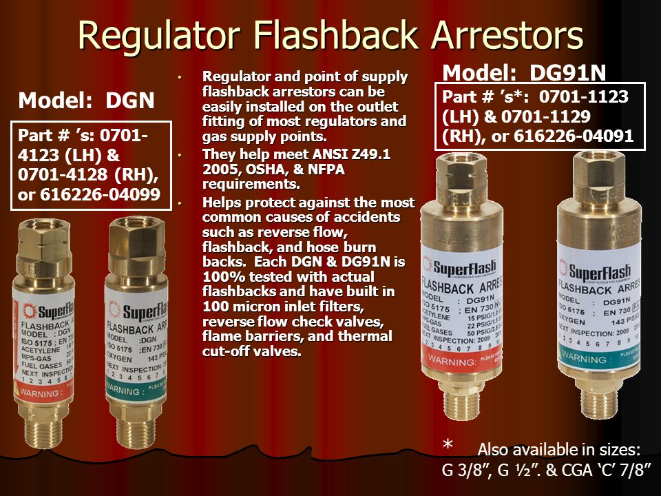 Regulator Flashback Arrestors