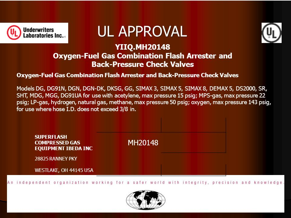 UL APPROVAL YIIQ.MH20148 Oxygen-Fuel Gas Combination Flash Arrester and Back-Pressure Check Valves.