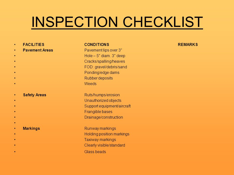 INSPECTION CHECKLIST FACILITIES CONDITIONS REMARKS