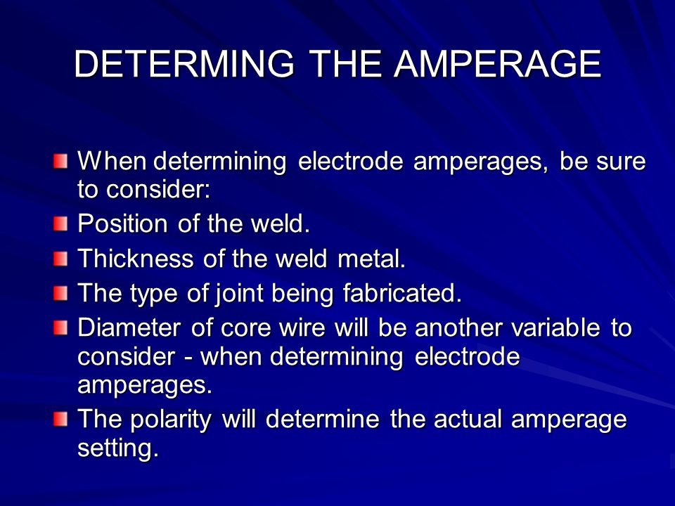 DETERMING THE AMPERAGE